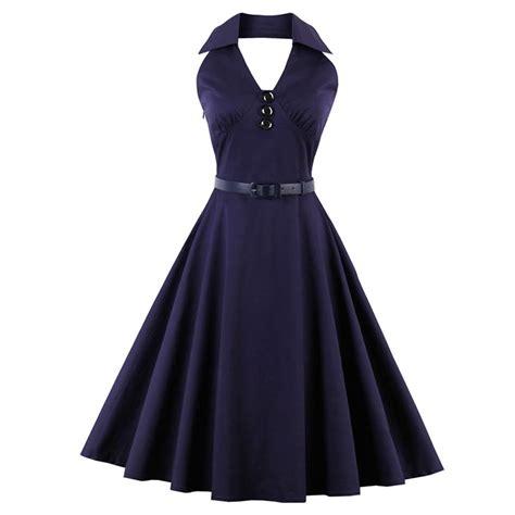 swing halter dress classic vintage summer backless halter swing dress n13059