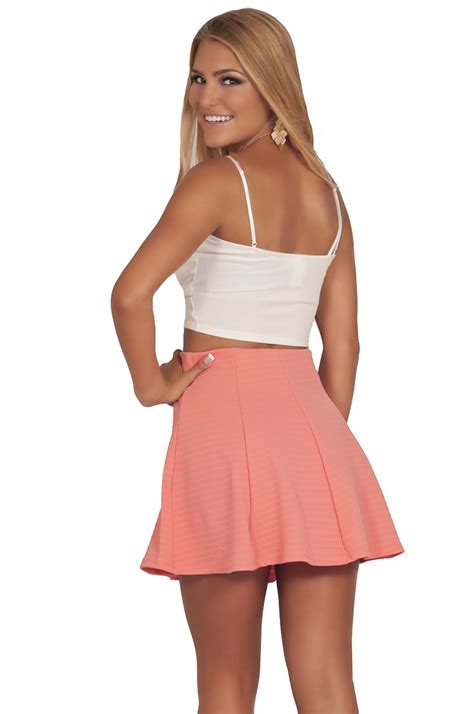 juniors soft flirty fit n flare ribbed texture high