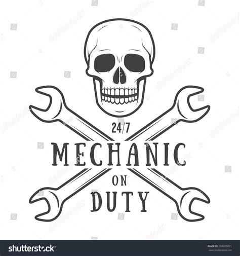 T Shirt Mechanic Logo vintage mechanic logo label with skull wrench stock photo