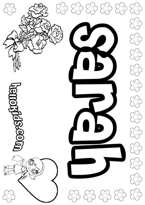 Sarah Coloring Pages Hellokids Com Printable Name Coloring Pages