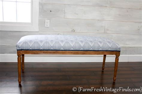 reupholster a bench how to easily reupholster a bench farm fresh vintage finds