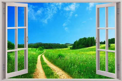 Window View Wall 3d window view enchanted meadow wall sticker mural