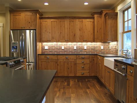 Brick Tile Kitchen Backsplash by Kitchen Cabinets Rustic Kitchen Other Metro By