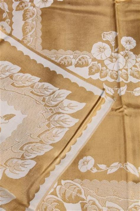 vintage table linens gold white floral satin damask table linens vintage