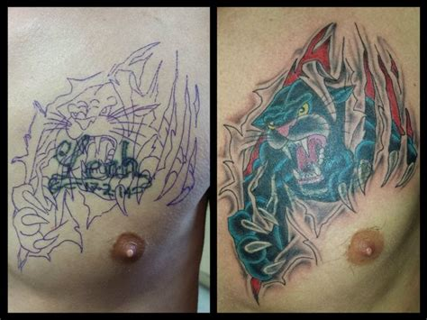 cover up tattoos on chest panthers cover up and 3d on