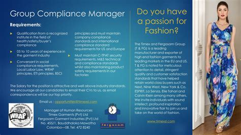 pattern maker male job vacancy in sri lanka group compliance manager job vacancy in sri lanka