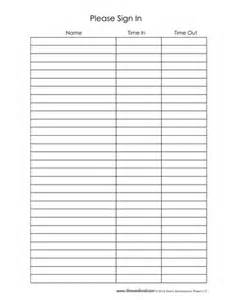 Templates For Sign In Sheets by Sign In Sheet Template 12 Tim S Printables