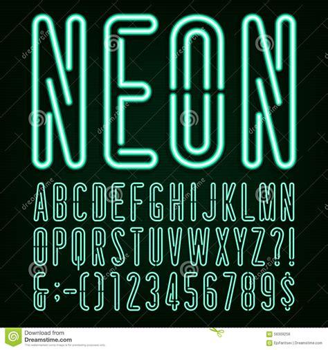 neon light letters font neon green light alphabet vector font stock vector