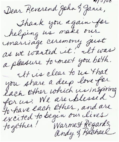 thank you letter after wedding wedding testimonials