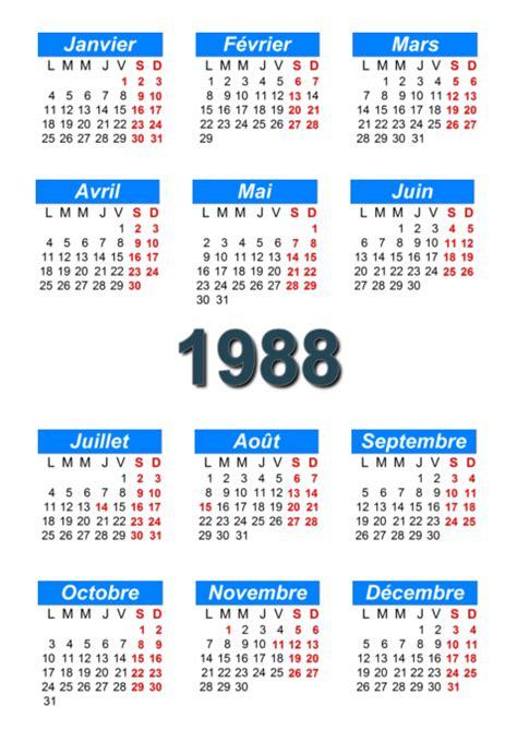 Calendrier De 1988 Calendrier 1988 224 Imprimer Et 224 T 233 L 233 Charger En Pdf Abc