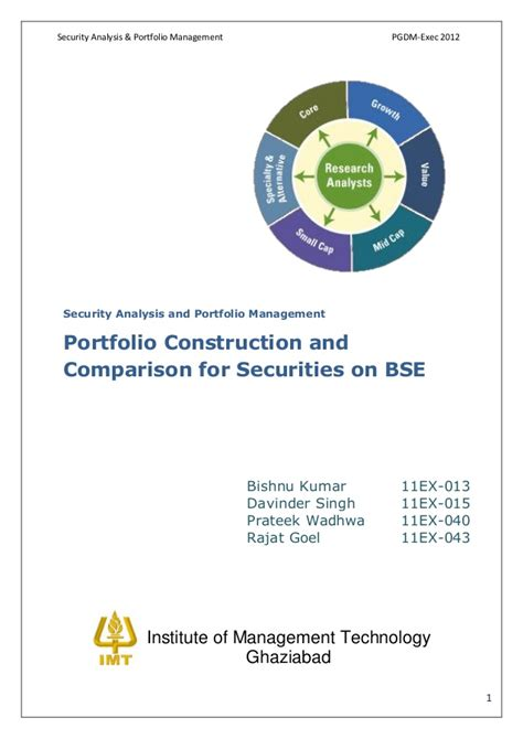 Security Analysis And Portfolio Management Ppt For Mba by Sapm Portfolio Construction And Comparison For