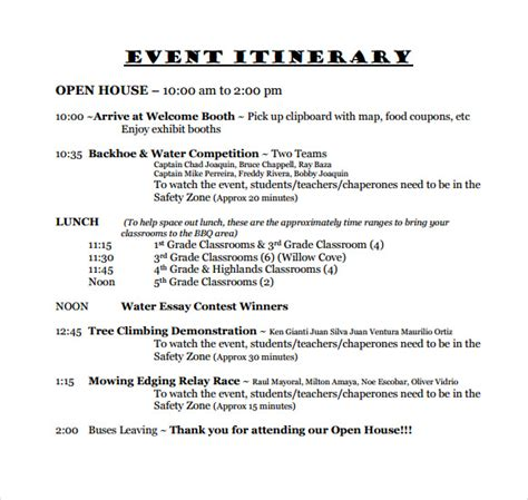 Event Itinerary Template 10 Sle Event Itinerary Templates Sle Templates