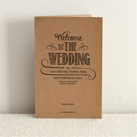 wedding order of service free template diy kraft paper wedding program order of service