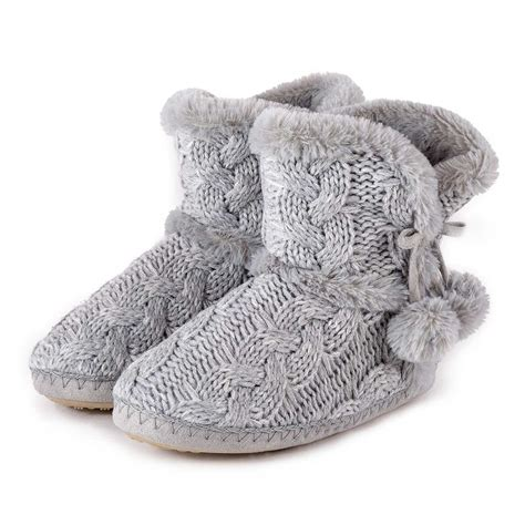 knitted boot slippers totes cable knit boot slippers ebay
