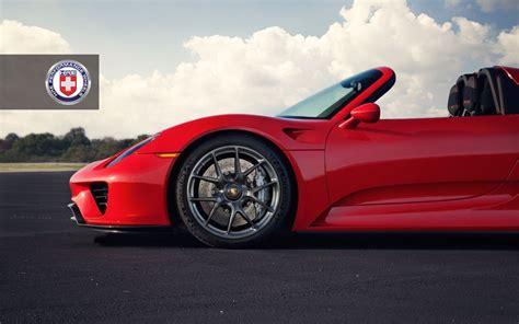 porsche wheels on red porsche 918 spyder with dark clear hre wheels gtspirit
