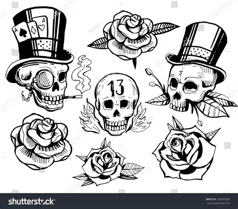how to create a classic tattoo style vector illustration set skulls roses school stock vector 728249548