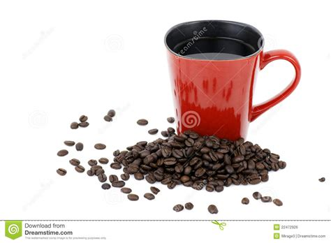 Tumbler Coffee Bean mug and coffee beans stock photo image of aromatic