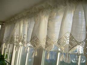 Country Kitchen Curtains And Valances Set Of Country Lace Crochet Cafe Kitchen Curtain With Valance 013 Ebay