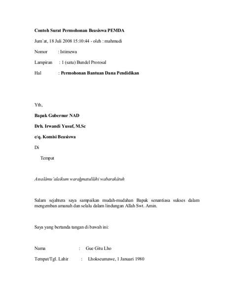 27437604 contoh surat an beasiswa pemda