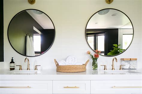 twin  bathroom mirrors  white vanity hgtv