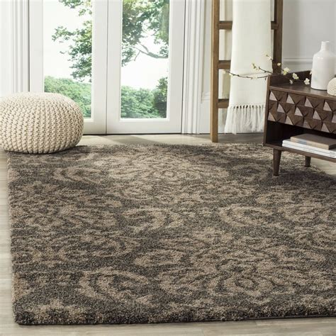 Safavieh Shag Rugs by Safavieh Florida Shag Smoke Beige Damask Area Rug 4 X 6