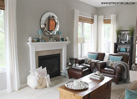 Easy Living Room Makeover Mantel Decor Ideas Blue Taupe And White Palette