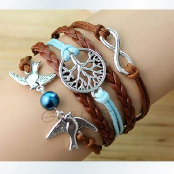 Gelang Korea Bracelet Multicharm Birds Anchor the ancient silver password anchor knitted leather cord multi layer bracelet on luulla