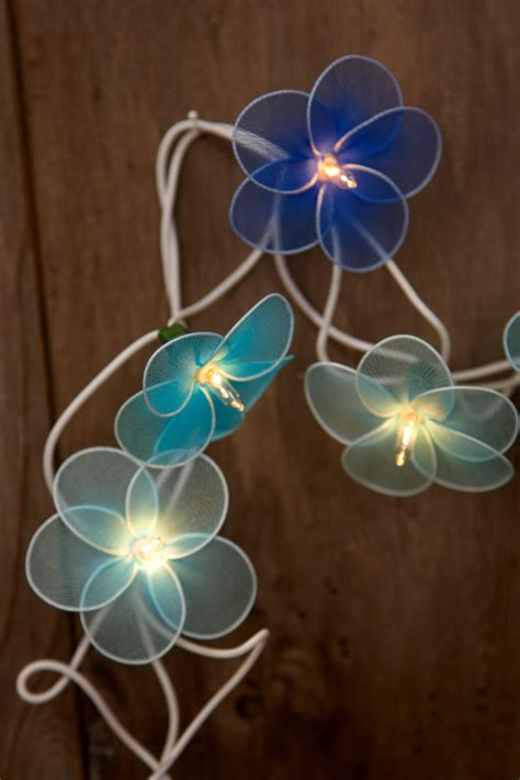 String Flower - flower string lights blue