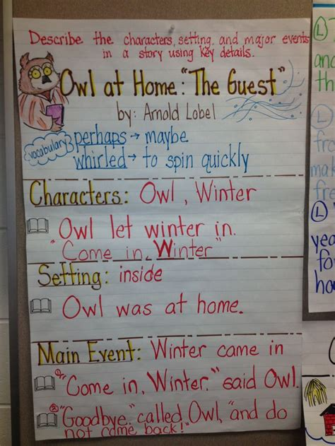 owl at home quot the guest quot rl 1 3 anchor charts