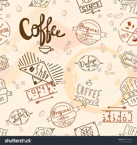 Vintage Retro Coffee Stamp Seamless Pattern For Cafe