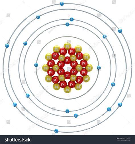 argon protons argon atom on white background stock illustration