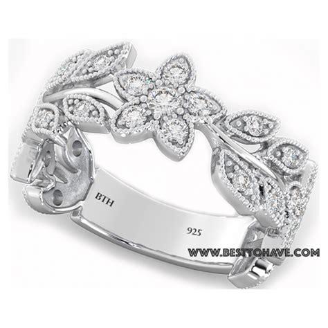 flower wedding band ring wedding engagement bridal band floral ring