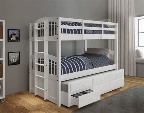 Bunk Bed With Trundle And Drawers White Trundle Bunk Bed With Drawers