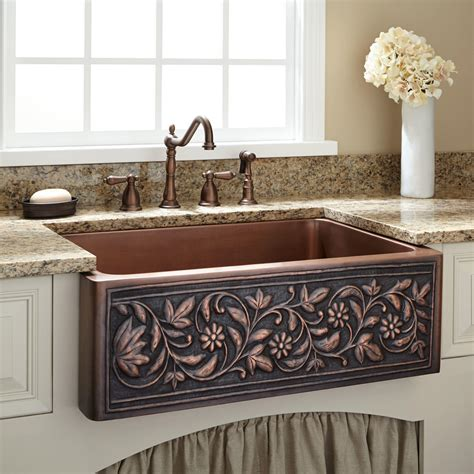 awesome single copper farmhouse sink with granite