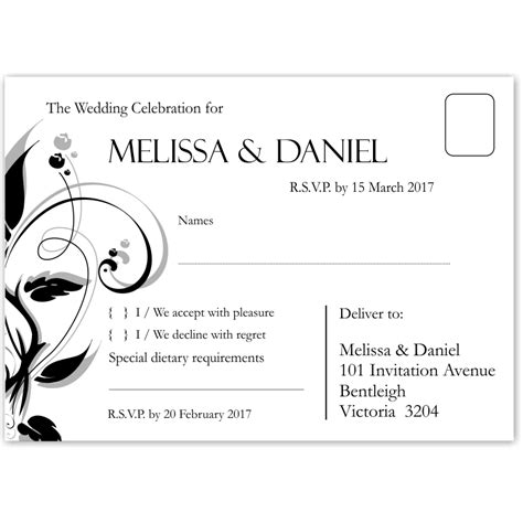 rsvp cards with meal options