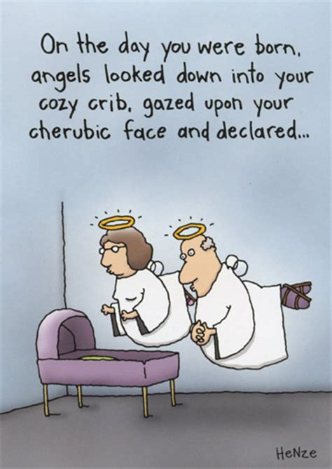 angels at crib funny humorous birthday card by oatmeal