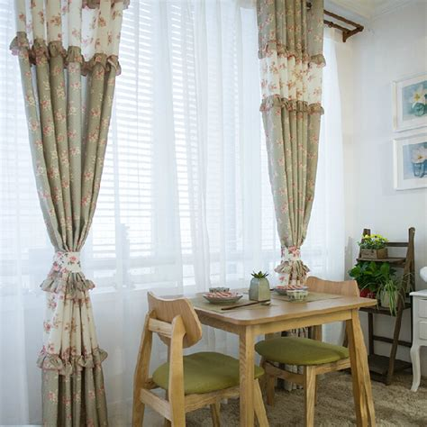 curtains shabby chic light green floral shabby chic curtains