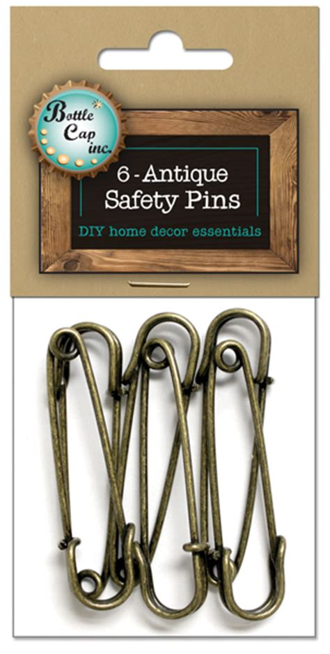 6 antique safety pins