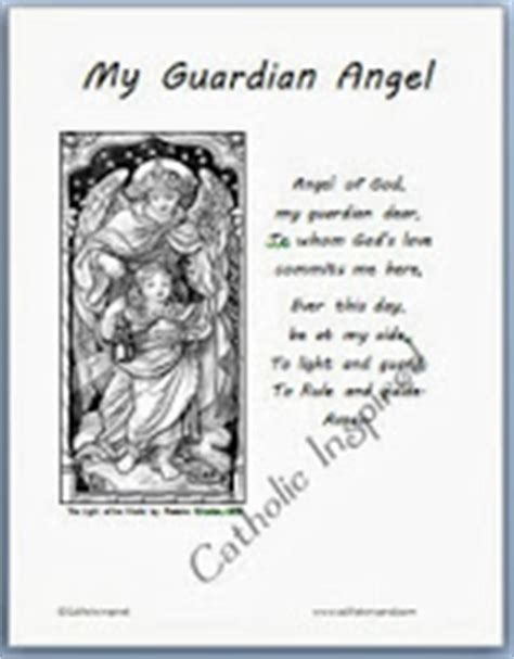 coloring page guardian angel prayer guardian angels printable page for kids catholic inspired