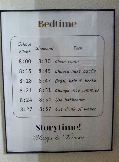 Date Bedroom Behavior Diy Bedtime Schedule For My 9 And 10 Year Printed And