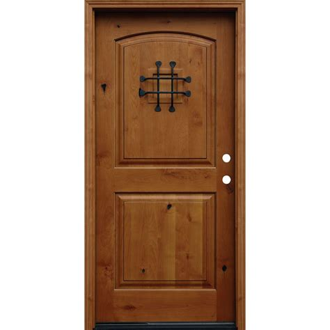 Front Door Panel Pacific Entries 36 In X 80 In Rustic Arched 2 Panel Stained Knotty Alder Wood Prehung Front