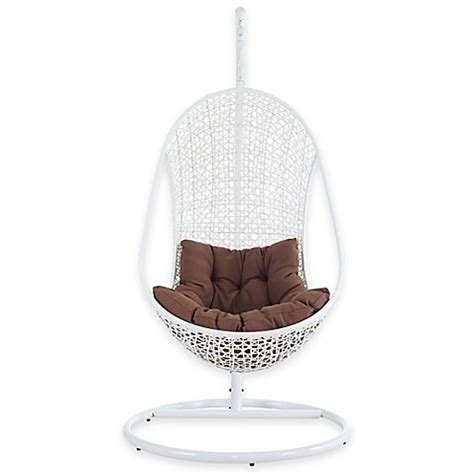 white rattan swing chair buy modway bestow rattan swing lounge chair in white brown