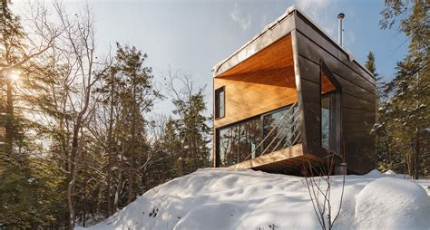 cabin architecture prefab tiny cabin perched on a granite rock to minimize
