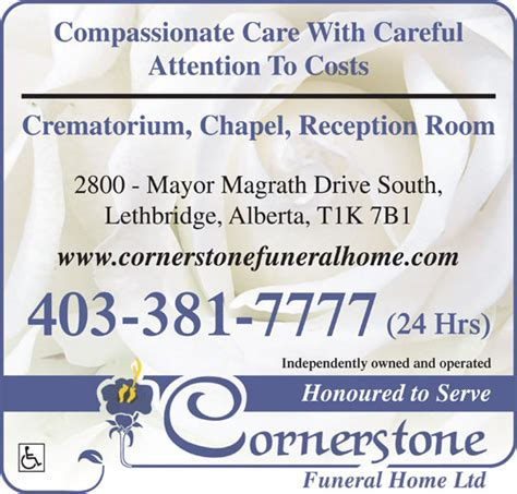 cornerstone funeral home crematorium lethbridge ab