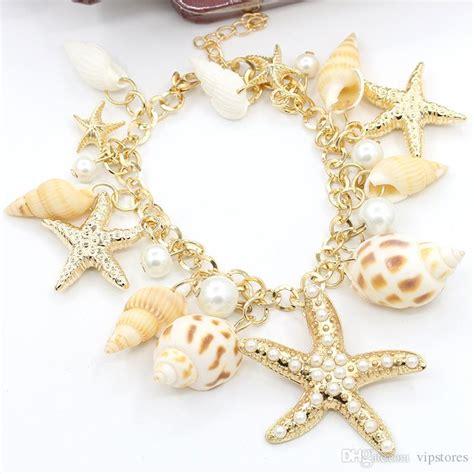 8 Beautiful Accessories by 2017 Bohemian Starfish Seashell Charm Bracelet Jewelry