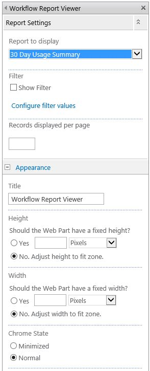 nintex workflow reports configuring the report viewer webpart
