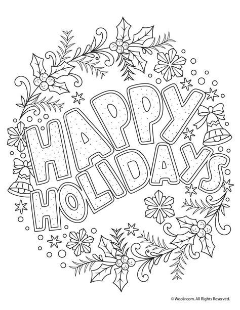 happy holidays coloring pages happy holidays coloring freebie holidays
