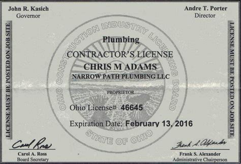 Ohio Plumbing License licensed plumbing contractor xenia oh narrow path