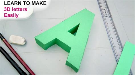 learn to make 3d letters from paper letter a youtube