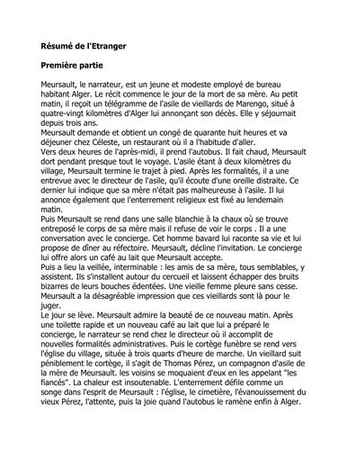 Resume L Etranger by L Etranger R 233 Sum 233 By Natjohnston Teaching Resources Tes